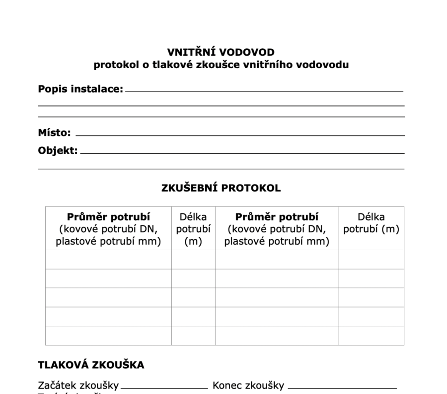 Protokol o tlakové zkoušce vnitřního vodovodu